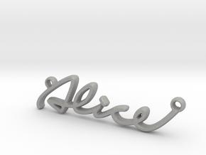 ALICE Script First Name Pendant in Raw Aluminum