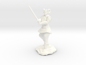 Tiefling Paladin in Platemail with Greatsword in White Processed Versatile Plastic