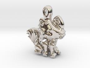 Kitty Cat pendant in Rhodium Plated Brass