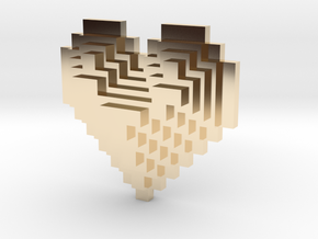 8bit Heart Posted Studs in 14k Gold Plated Brass