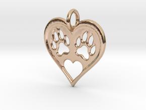 Cat paw print love heart pendant in 14k Rose Gold