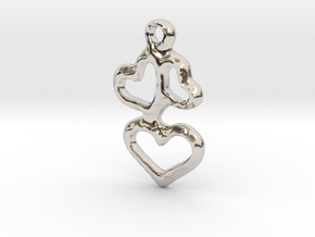 3 Hearts Pendant in Rhodium Plated Brass