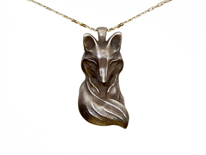 The Sleeping Fox Pendant in Polished Bronze Steel