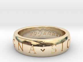 Sir Francis Drake, Sic Parvis Magna Ring Size 7.5 in 14K Yellow Gold