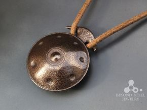 Handpan Instrument Pendant v2 in Polished Bronze Steel