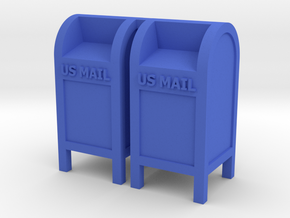 Mail Box - 'O' 48:1 Scale (2) in Blue Strong & Flexible Polished
