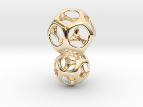 Dodecahedron Interlocked - 2pts in 14k Gold Plated Brass