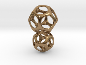 Dodecahedron Interlocked - 2pts in Natural Brass (Interlocking Parts)