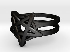 Pentagram Ring in Matte Black Steel