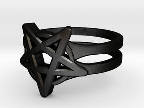 Pentagram Ring in Matte Black Steel