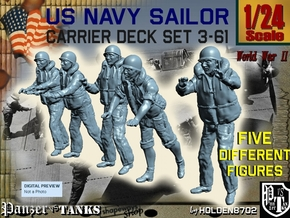 1/24 US Navy Carrier Deck Set 3-61 in White Natural Versatile Plastic