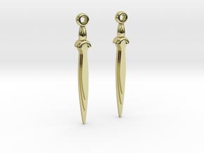Earrings of bronze sword c.1200BCE in 18k Gold Plated Brass