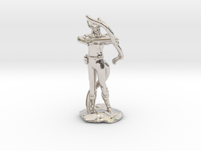 Tiefling Ranger with Bow in Rhodium Plated Brass