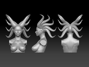 Long horn woman head in 5cm in Frosted Ultra Detail
