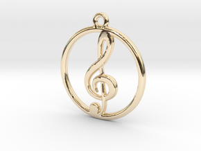 Treble Clef & Ring Pendant in 14k Gold Plated Brass