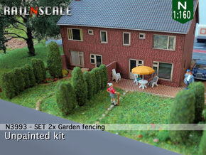SET 2x Garden fencing (N 1:160) in White Strong & Flexible