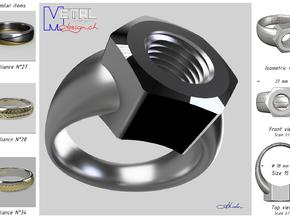 Bague Ecrou - 15 in Fine Detail Polished Silver