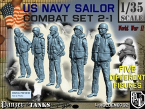 1-35 US Navy Sailors Combat SET 2-1 in Smooth Fine Detail Plastic