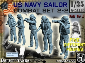 1-35 US Navy Sailors Combat SET 2-2 in Smooth Fine Detail Plastic