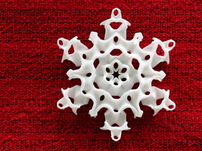 Gyroid Snowflake Ornament 1 in White Processed Versatile Plastic