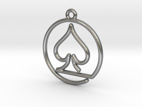 Pike Card Game Pendant in Natural Silver