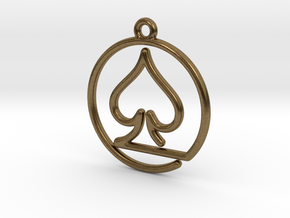 Pike Card Game Pendant in Natural Bronze