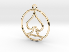 Pike Card Game Pendant in 14K Yellow Gold