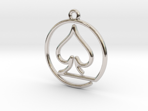 Pike Card Game Pendant in Rhodium Plated Brass