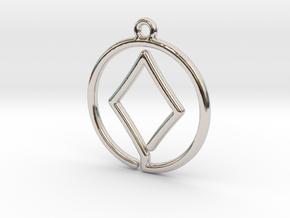 Diamond Card Game Pendant in Rhodium Plated Brass