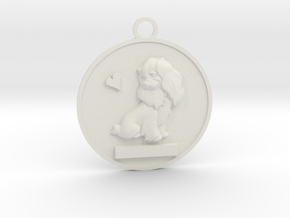 Pet Name Pendant in White Natural Versatile Plastic: Small