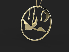 Quetzalcoatlus Necklace Pendant in 14k Gold Plated