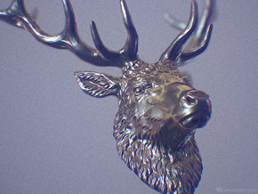Stag pendant in Polished Silver