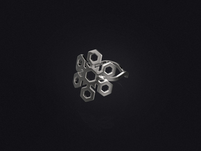Snowflake Ring 01 in Polished Bronzed Silver Steel