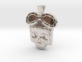 Lost Aviator Skull in Rhodium Plated Brass