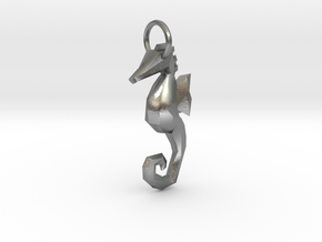 Seahorse low poly pendant in Raw Silver