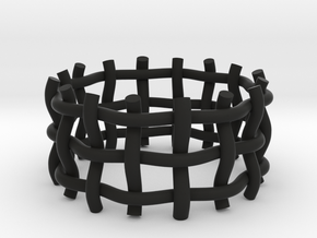 Woven Ring  in Black Natural Versatile Plastic: 5 / 49