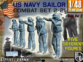 1-48 US Navy Sailors Combat SET 2-21 in Smooth Fine Detail Plastic