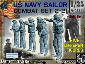 1-35 US Navy Sailors Combat SET 2-21 in Smooth Fine Detail Plastic
