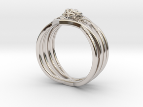 Romantic Rose ring with leaves in Platinum: 6 / 51.5