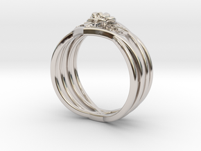 Romantic Rose ring with leaves in Rhodium Plated Brass: 6 / 51.5