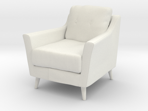 Retro Armchair in White Natural Versatile Plastic: 1:12
