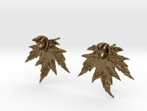 Leaf Earring Stud in Natural Bronze
