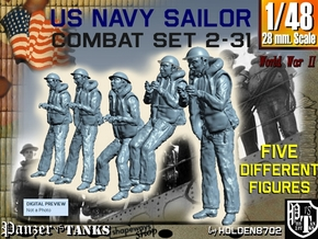 1-48 US Navy Sailors Combat SET 2-31 in Smooth Fine Detail Plastic