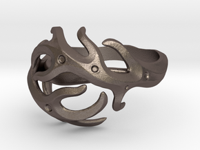 Antlers ring in Polished Bronzed Silver Steel