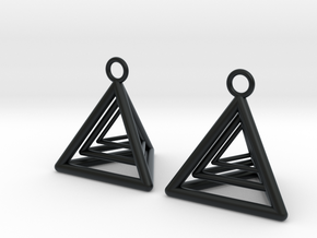 Pyramid triangle earrings type 9 in Black Hi-Def Acrylate