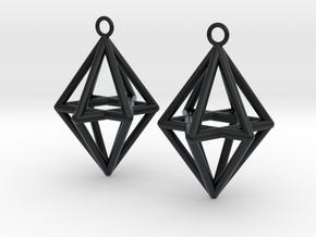 Pyramid triangle earrings type 14 in Black Hi-Def Acrylate
