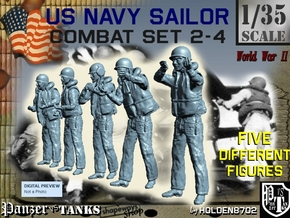 1-35 US Navy Sailors Combat SET 2-4 in Smooth Fine Detail Plastic