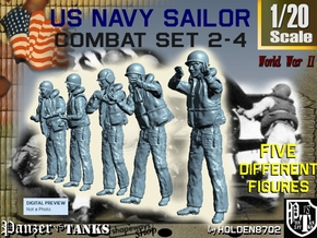 1-20 US Navy Sailors Combat SET 2-4 in White Natural Versatile Plastic
