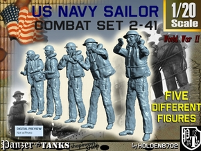 1-20 US Navy Sailors Combat SET 2-41 in White Natural Versatile Plastic