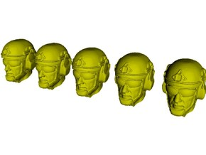 1/24 scale SOCOM operator A helmet & heads x 5 in Smooth Fine Detail Plastic